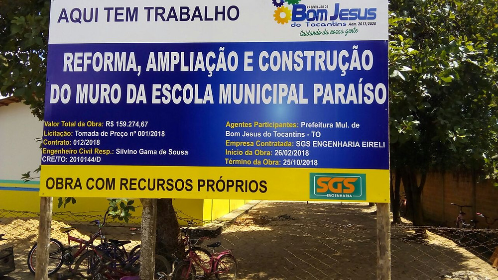 Reforma escola municipal Paraíso Bom Jesus