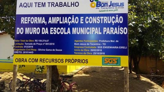 Prefeitura da início as obras de reforma e ampliação da Escola Municipal Paraíso