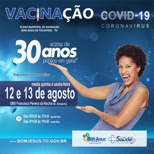 Saúde dará continuidade a vacinação contra a Covid-19 de pessoas acima de 30 anos