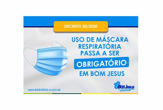 Prefeitura de Bom Jesus determina uso de máscaras em locais públicos e prevê multa para quem descump