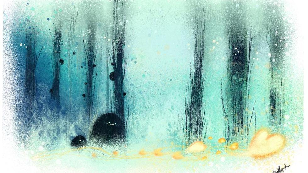 """Through silent trees."""