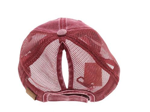 Distressed Mesh High Ponytail Cap