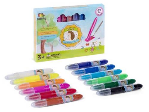NOYO 12 Colors Crayons - Not Your Ordinary Crayons 3 in 1 Bolder Crayons-Pastel-