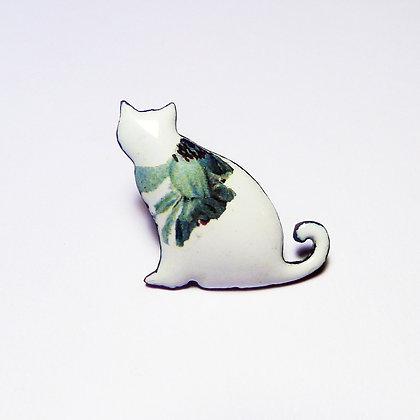 Green Flower Cat - Brooch #FCBRO9