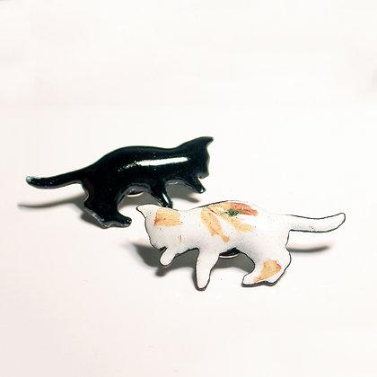 Black & Orange Cats - Brooch #FCBRO4