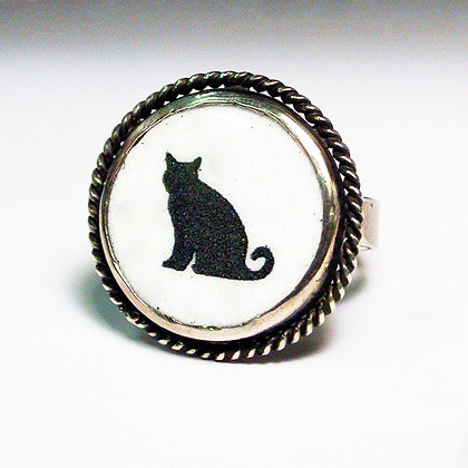 Silhouette Cat - Ring #FCR1