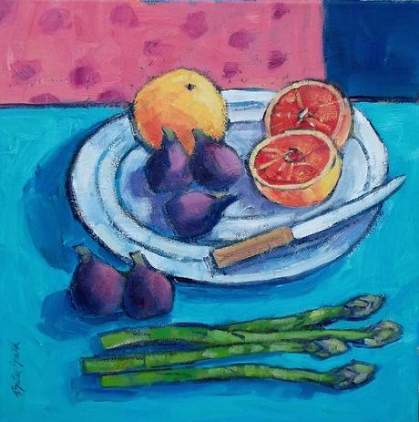 Asparagus On The Table 40x40cm oil on ca