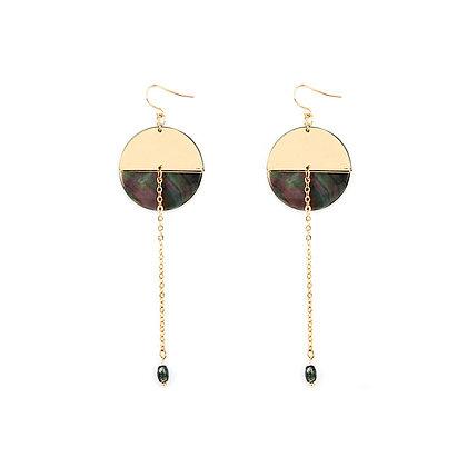 Two Tone Circle Dangle Earrings