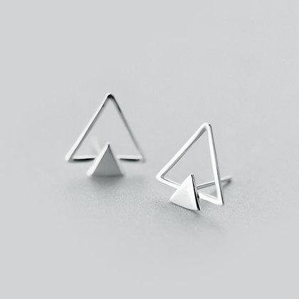 S925 Double Triangular Studs