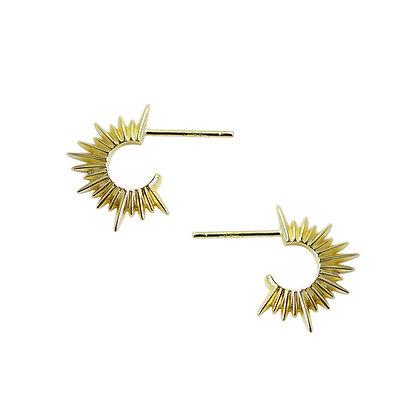 S925 Gold Sun Earrings