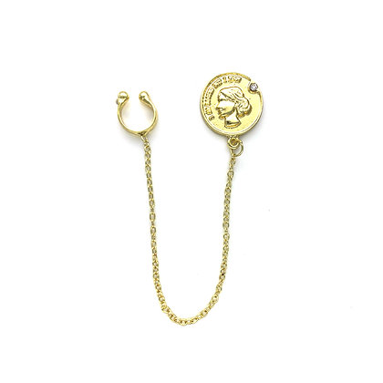 18k Gold Plated-Coin Cuff Earrings -S925 Post