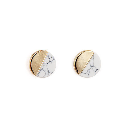 Two Tone Marble Stud Earrings