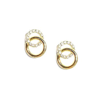 Mini Gold Double Hoop Earrings -S925 Post