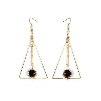 Delicate Hollow Triangle Stone Drop Earrings