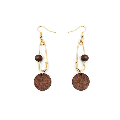 Wooden Circle Baby Pin Earrings