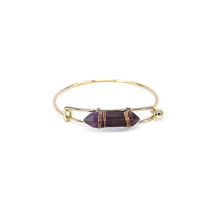 Expandable Bangle Bracelet with Purple Stone
