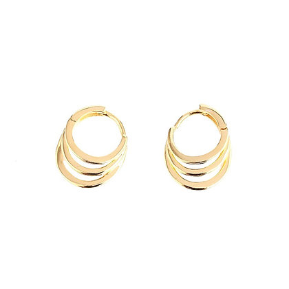 S925 Three Band Hoops