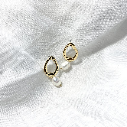 Pearl with Organic Tear Drop Earrings