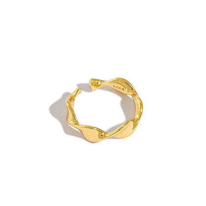 S925 Gold Wave Ring