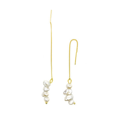 Thread Freshwater Pearl Drop Earrings- S925 Post