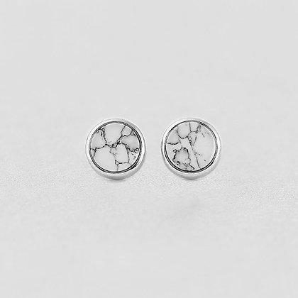 S925 Round Marble Earrings