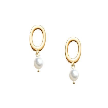 Oval Pearl Studs-S925 Post