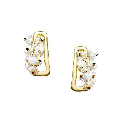 Square shape w Pearl Earrings- S925 Post