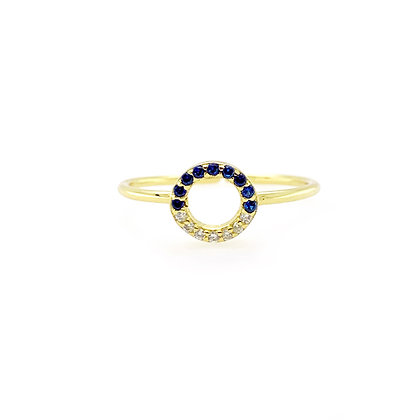 Open Circle Blue Diamond Adjustable Ring
