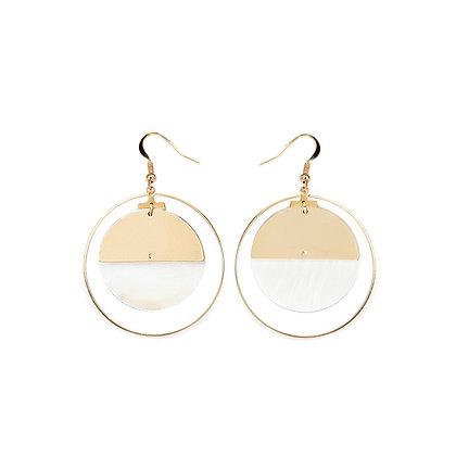 Circle and Shell Hook Earrings