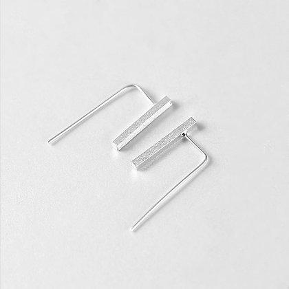 S925 Simple Double Bar Silver Earrings