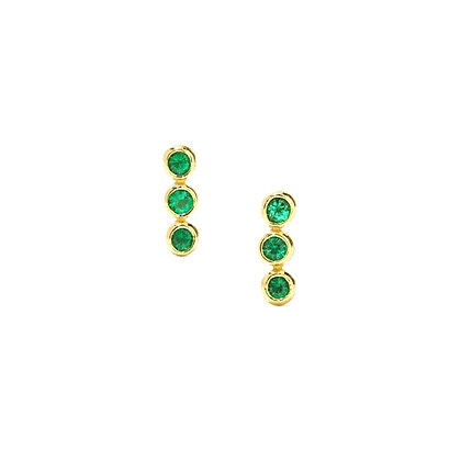 S925 Mini Triple Green CZ Stud Earrings