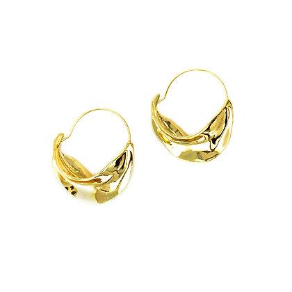 14k Gold Plated- Rippling Waves Hoop Earring