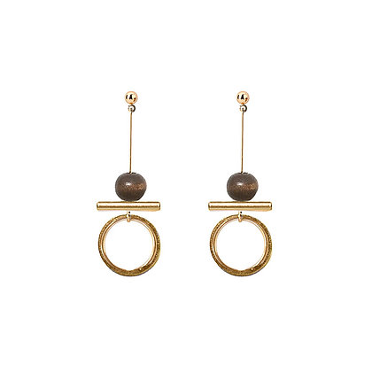 Simple Wooden Round Bar Earrings