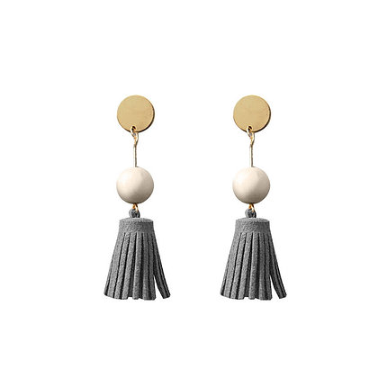 Drop Wooden Ball Leather Tassel Earrings