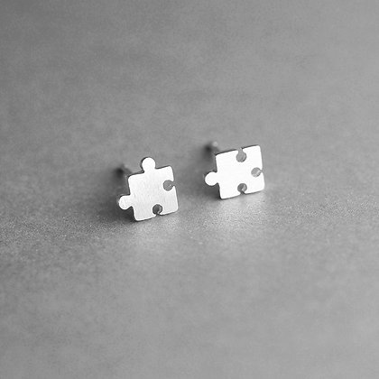 S925 Puzzle Piece Earrings