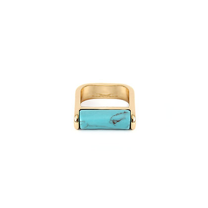 Turquoise Marble Square Ring