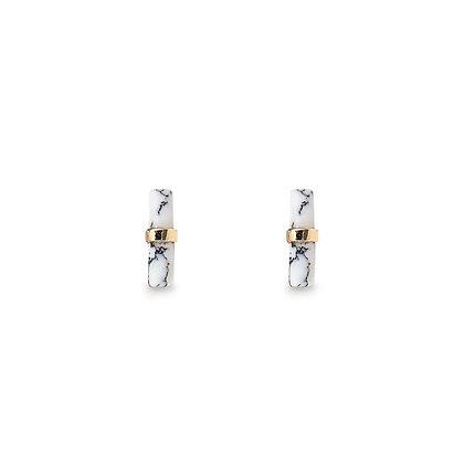 Minamalist Marble Bar Earrings