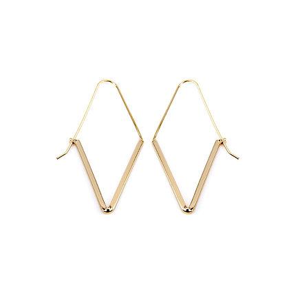 Simple Diamond Hook Earrings