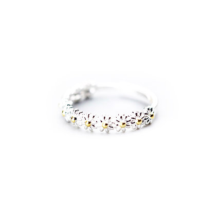 S925 Daisy Flower Adjustable Ring