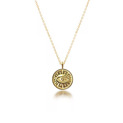 S925 Evil Eye Gold Necklace