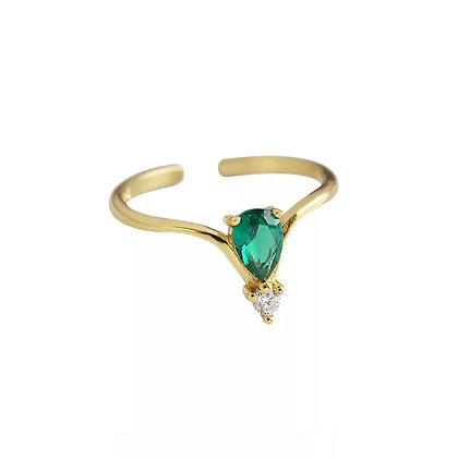 Green Pear Diamond Adjustable Ring
