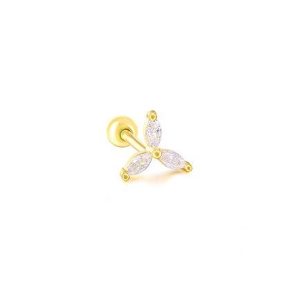 S925 Three Leaf Barbell Earring