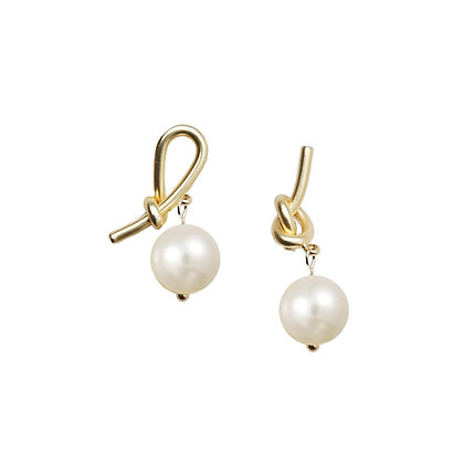 S925 Post Asymmetrical Knot & Pearl Studs-S925 Post