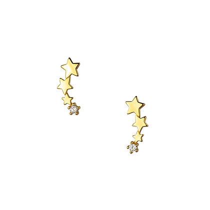 S925 Four Star Earrings
