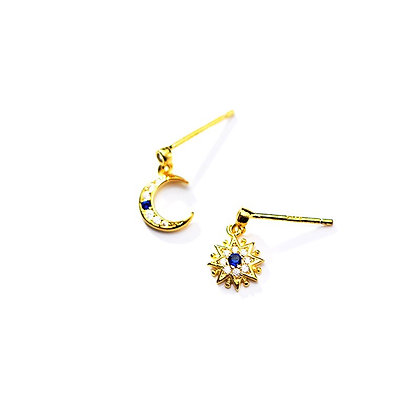 S925 CZ Blue Star & Moon Earrings