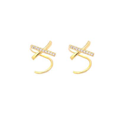 S925  CZ  X Spiral Earrings
