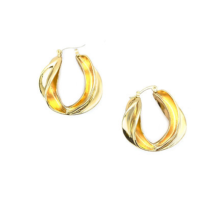 14k Gold Plated- Large Swirl Hoops