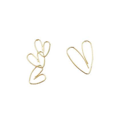 Asymmetrical Heart Earrings-S925Post