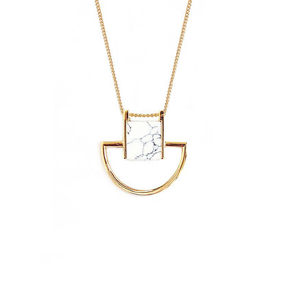 Crescent Cube Marble Necklace