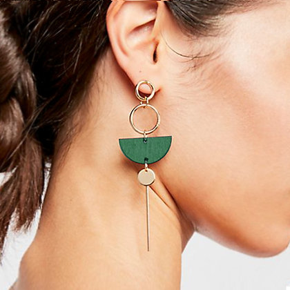 Double Circle Wooden Drop Earrings with Semi Circle